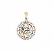 Золотой кулон Лев с фианитами