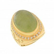 Золотой перстень Взгляд вечности с бериллом и бриллиантами