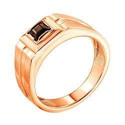 Перстень-печатка из красного золота с раухтопазом 000134118