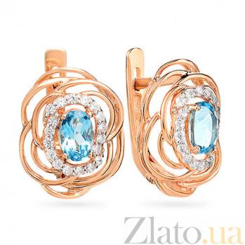 Золотые серьги с топазами и фианитами Евгения SUF--110420Птг