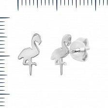 Серебряные серьги-пуссеты Фламинго
