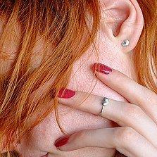 Серебряное кольцо на верхнюю фалангу Валентинка с подвижной бусиной-сердечком