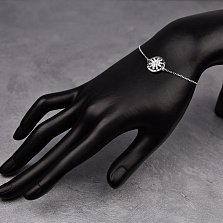 Серебряный браслет Астра с фианитами и черной эмалью в стиле Булгари