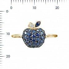 Кольцо из красного золота Яблоко с сапфирами и бриллиантами