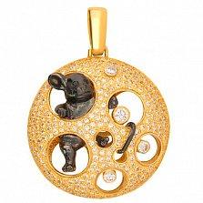 Золотой кулон с цирконием Мишель