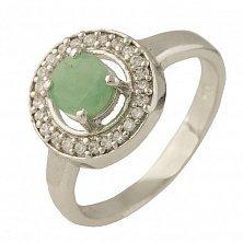 Серебряное кольцо Вэнди с изумрудом и фианитами