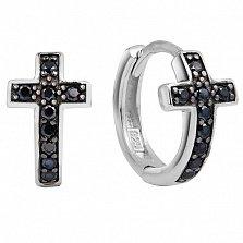 Серебряные серьги Крестики с чёрным цирконием