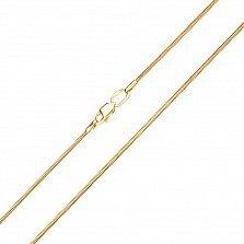 Золотая цепочка Легкость в желтом цвете в плетении круглый снейк, 1мм