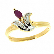 Золотое кольцо Одетта из желтого золота с рубином