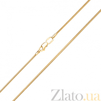 Золотая цепочка Легкость в желтом цвете в плетении круглый снейк, 1мм 000082824