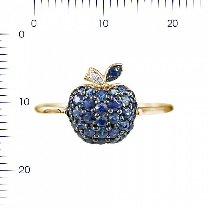Кольцо из красного золота Яблоко с сапфирами и бриллиантами 000080959