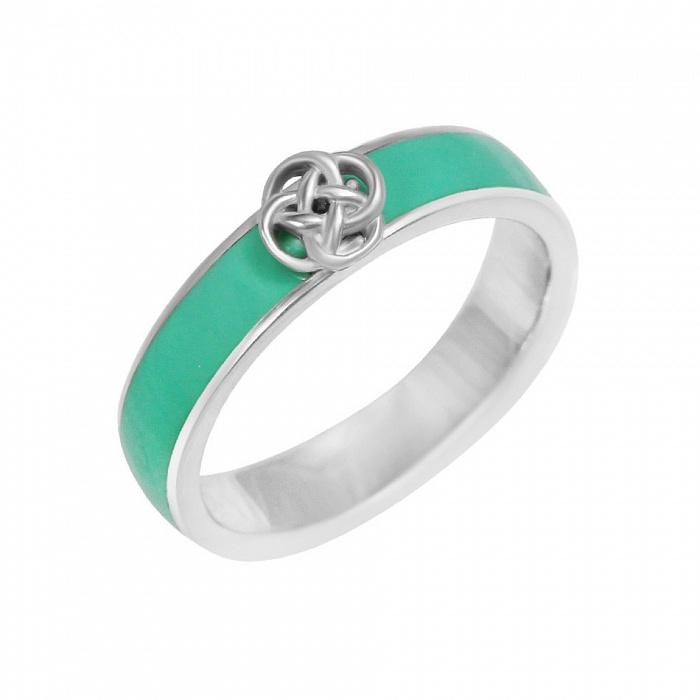 Серебряное кольцо Весенняя магия с мятной эмалью 000082018