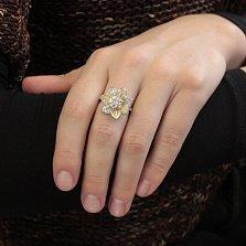 Серебряное кольцо Лилея с цветным родированием и белыми фианитами