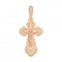 Золотой крестик Убеждение в красном цвете с узорами