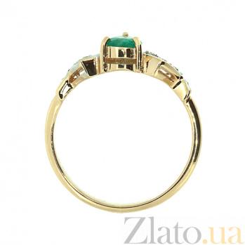 Золотое кольцо в красном цвете с изумрудом и бриллиантами Лира ZMX--RE-6174_K