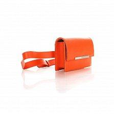 Кожаный клатч на пояс Genuine Leather 1706 оранжевого цвета с клапаном на магните