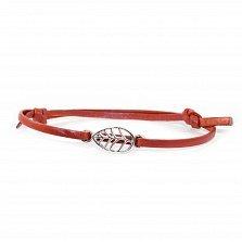 Кожаный браслет с серебром Leaf Red с чернением