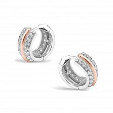 Серебряные серьги-колечки Мариэтта с золотыми накладками, фианитами и родием