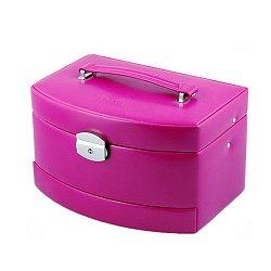 Розовая шкатулка для украшений Merino с дорожным отделением и замком