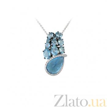 Золотое колье Морская вселенная с голубыми топазами и бриллиантами 000032355