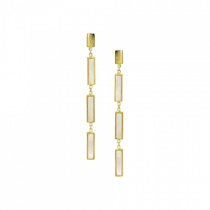 Серьги-подвески из желтого золота Карлотта с белым перламутром 000081485