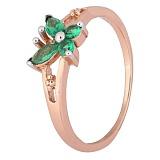 Позолоченное серебряное кольцо с зелеными фианитами Butterfly