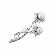 Серебряная брошь Деликатная жемчужина