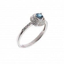 Серебряное кольцо Милана с топазом лондон и фианитами