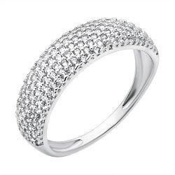 Серебряное родированное кольцо Мистерия с широкой шинкой усыпанной фианитами