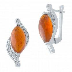 Серебряные серьги с янтарем и фианитами 000128582