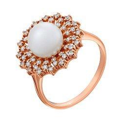 Золотое кольцо Дарлайн с белой жемчужиной и фианитами