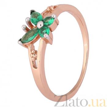 Позолоченное серебряное кольцо с зелеными фианитами Butterfly 000028216