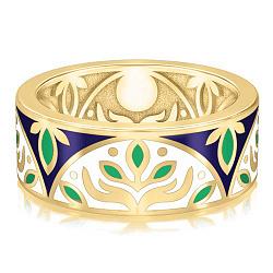 Золотое обручальное кольцо с эмалью Талисман: Веры 000009221