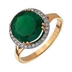 Золотое кольцо с агатом и фианитами 000136015