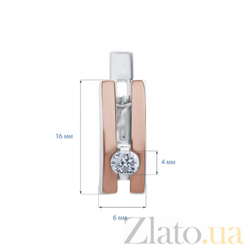 Серебряные серьги с золотом и фианитом Лидия AQA-002С Цр