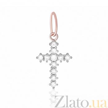 Серебряный крестик Барбара с фианитами и позолотой SLX--П3Ф/304