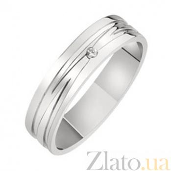 Золотое обручальное кольцо с бриллиантом Лаунж KBL--К1645/бел/брил