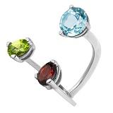 Серебряное кольцо с топазом, гранатом и хризолитом Сезам