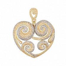 Золотая подвеска Сердце с цирконием
