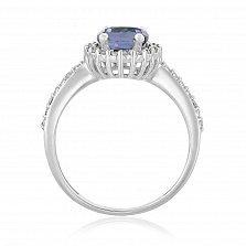 Кольцо в белом золоте Альда с фиолетовым корундом и фианитами