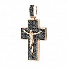 Крестик из красного золота Свет веры с черными фианитами