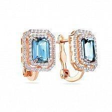 Золотые серьги Натали с синими топазами и белыми фианитами
