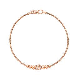 Браслет из красного золота в плетении снейк с фианитами и алмазной гранью 000131620