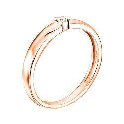 Кольцо в красном золоте с бриллиантом 000117658