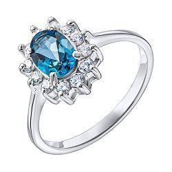 Серебряное кольцо с лондон топазом и фианитами 000137403