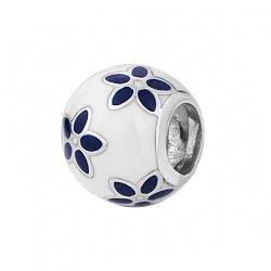 Серебряный шарм с белой и синей эмалью 000116376