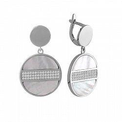 Серебряные серьги-подвески с фианитами и перламутром 000142864