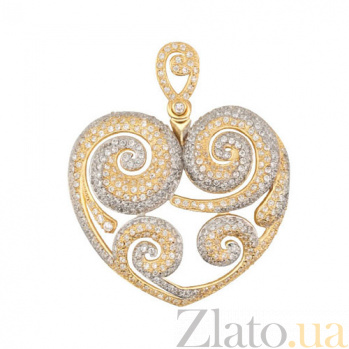 Золотая подвеска Сердце с цирконием VLT--ТТТ3478