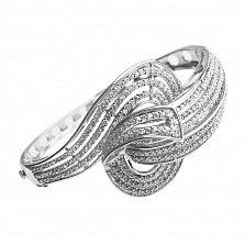 Серебряный литой браслет Воздушные завитки с белыми фианитами