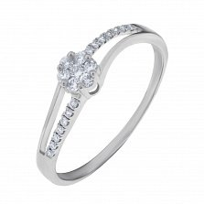 Золотое кольцо Арктика в белом цвете с бриллиантами